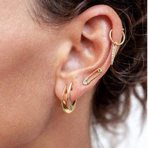 NWOT Gold Safety Pin Earrings